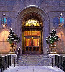 Back Bay Hotel summer evening scene turned into snowing in winter scene for holiday card